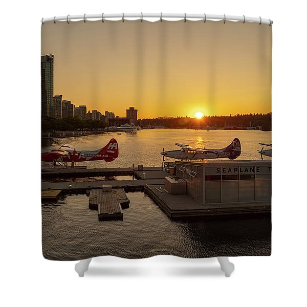 Sunset By The Seaplanes Shower Curtain