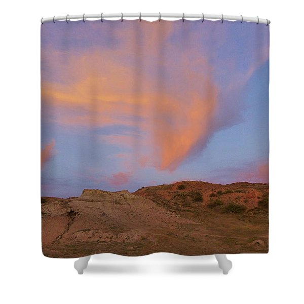 Shower Curtain featuring the photograph Sunset Clouds, Badlands by Cris Fulton