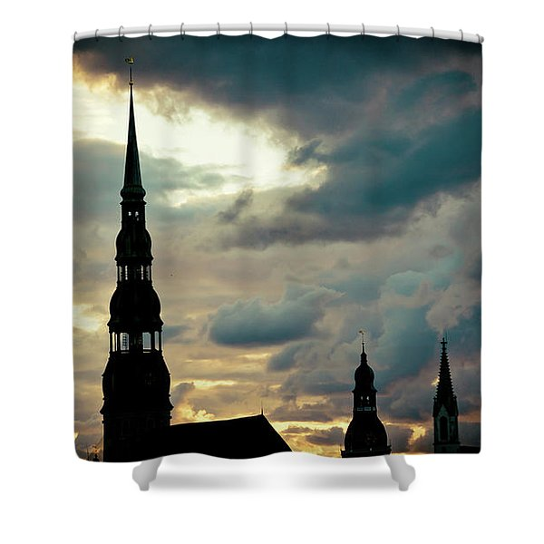 Shower Curtain featuring the photograph Sunset Cloudscape In Old Town Riga Artmif  by Raimond Klavins