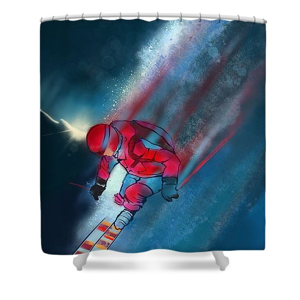 Shower Curtain featuring the painting Sunset Extreme Ski by Sassan Filsoof