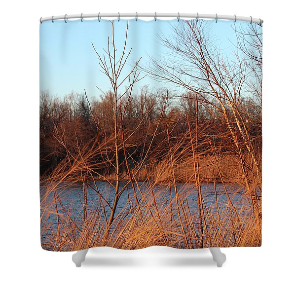 Sunset Field Over Water Shower Curtain