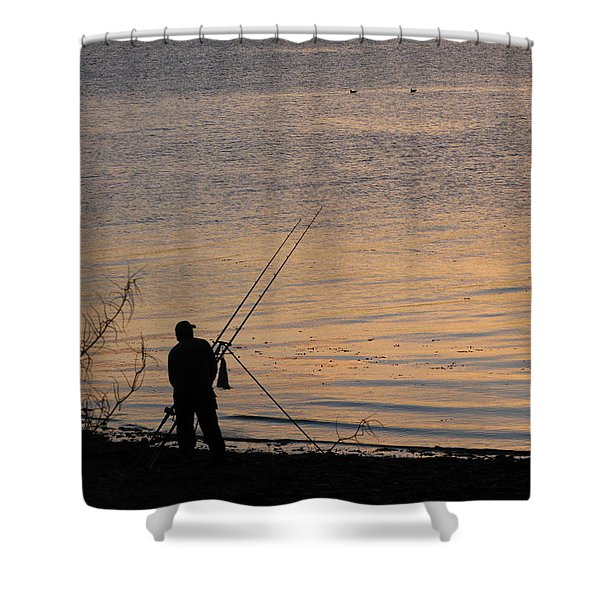 Sunset Fishing On The Loch Shower Curtain