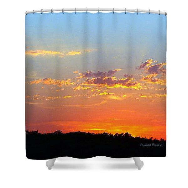 Sunset Glory Orange Blue Shower Curtain