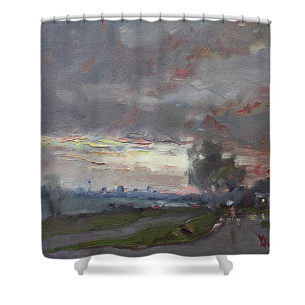 Sunset In A Rainy Day Shower Curtain