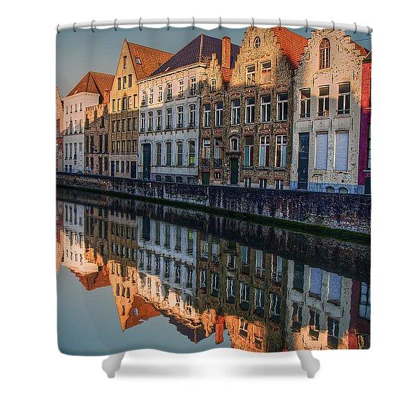 Sunset In Bruges Shower Curtain