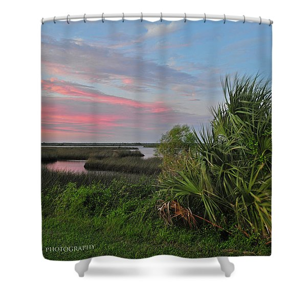 D32a-89 Sunset In Crystal River, Florida Photo Shower Curtain
