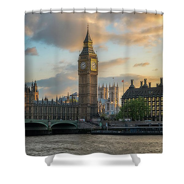 Sunset In London Westminster Shower Curtain