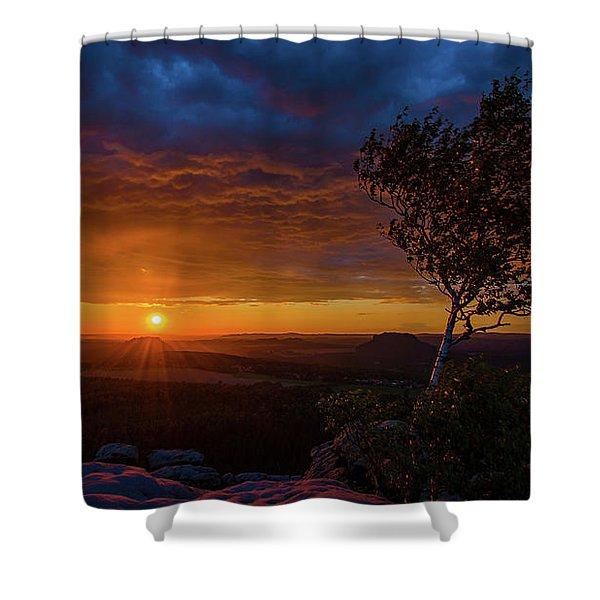 Sunset In Saxonian Switzerland Shower Curtain