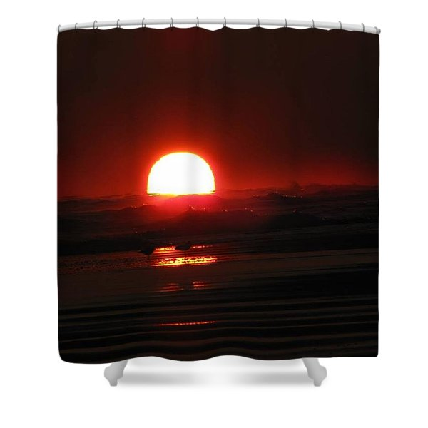 Sunset In The Waves Shower Curtain