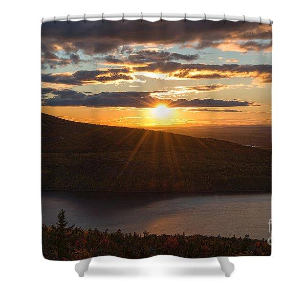 Sunset Jordan Pond Shower Curtain