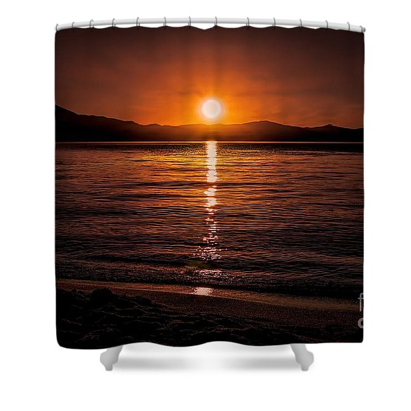 Sunset Lake 810pm Textured Shower Curtain