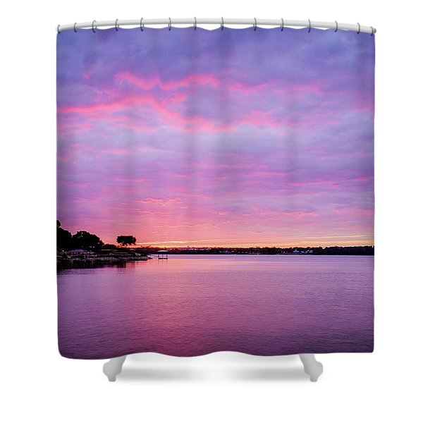 Sunset Lake Arlington Texas Shower Curtain