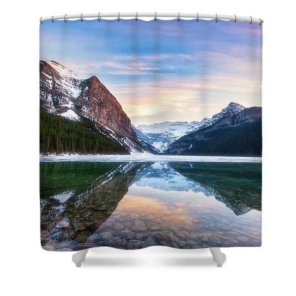 Sunset Lake Louise Shower Curtain