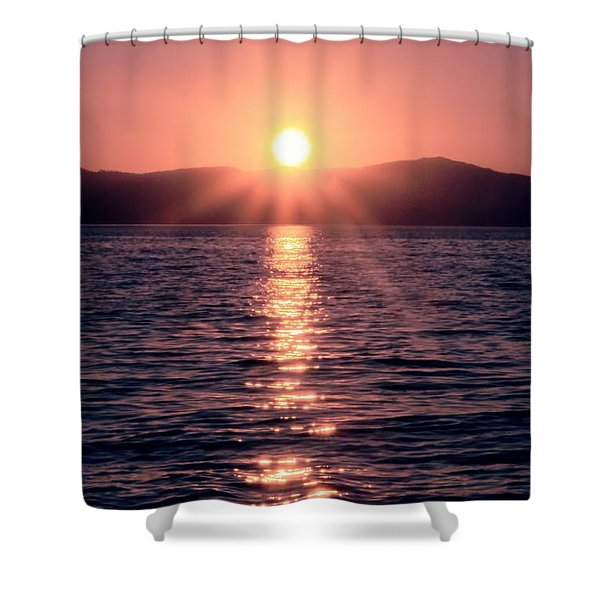 Sunset Lake Verticle Shower Curtain