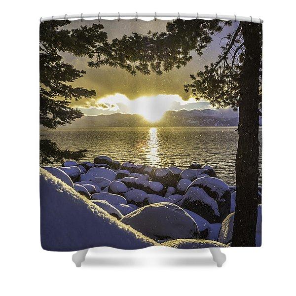 Sunset Light Lake Tahoe Shower Curtain