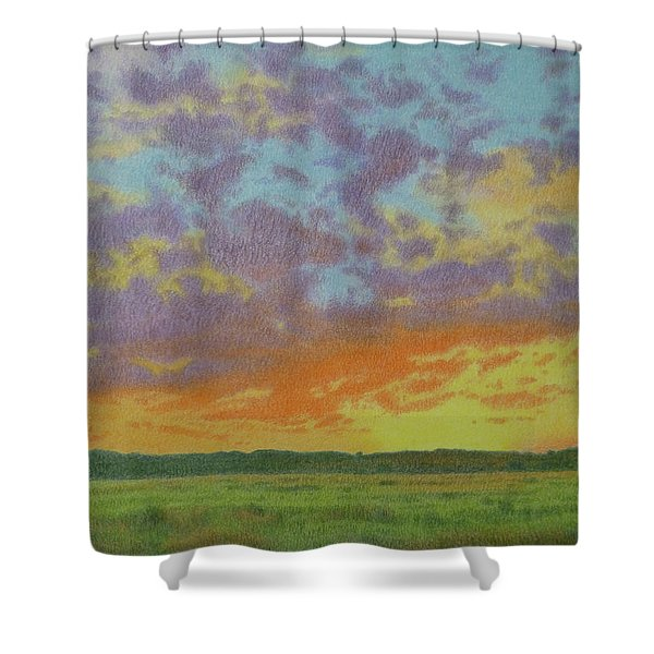 Shower Curtain featuring the pastel Sunset Near Miles City by Cris Fulton