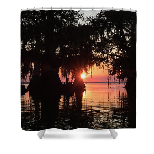Sunset On A Louisiana Cypress Swamp Shower Curtain