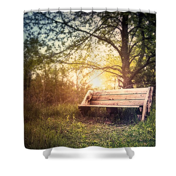 Sunset On A Wooden Bench Shower Curtain