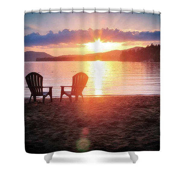 Sunset On Fourth Lake Shower Curtain