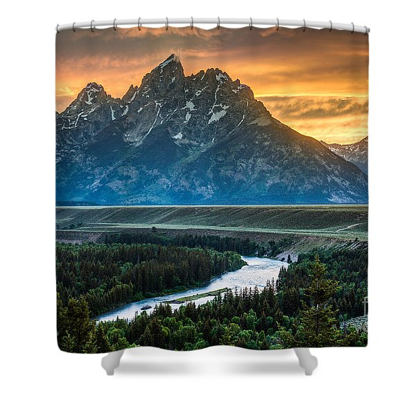 Sunset On Grand Teton And Snake River Shower Curtain