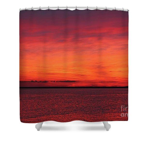 Sunset On Jersey Shore Shower Curtain