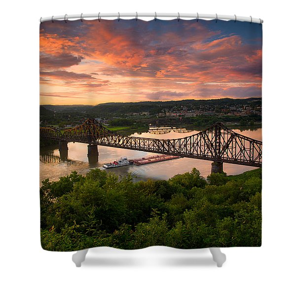 Sunset On Ohio River  Shower Curtain