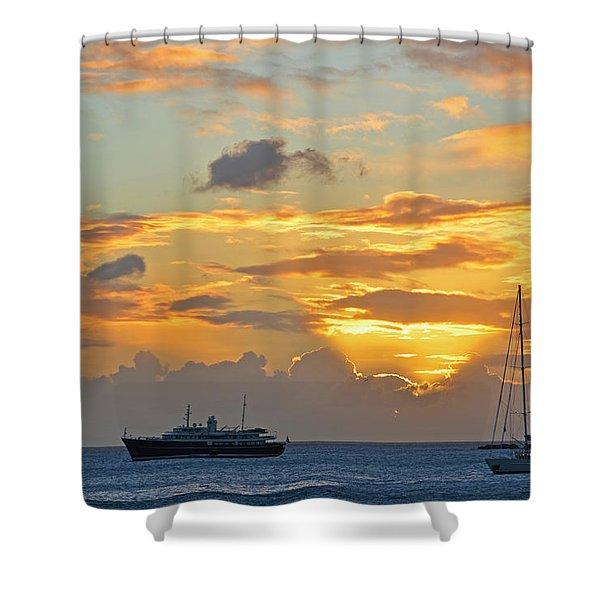 Sunset On Simpon Bay Saint Martin Caribbean Shower Curtain