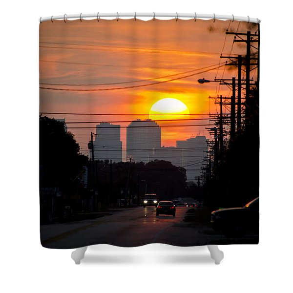 Sunset On The City Shower Curtain