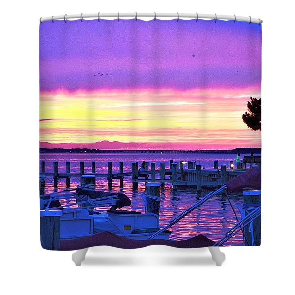 Sunset On The Docks Shower Curtain