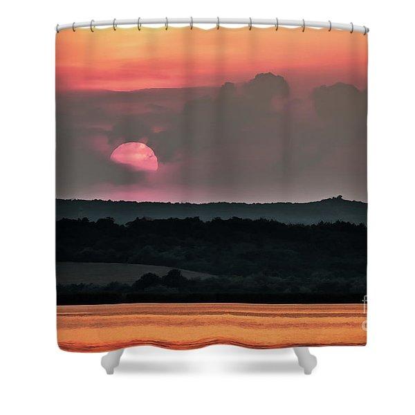 Sunset On The Lake Velence Paint Shower Curtain