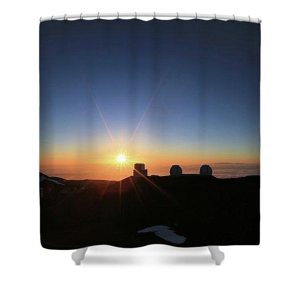 Sunset On The Mauna Kea Observatories Shower Curtain