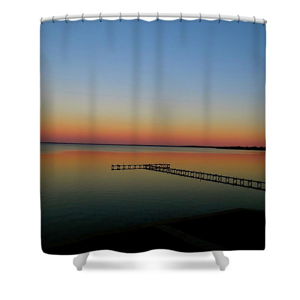 Sunset On The Pier Shower Curtain