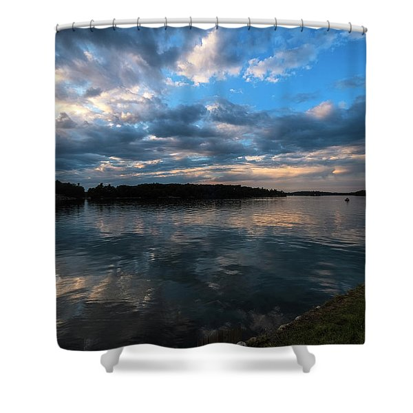 Shower Curtain featuring the photograph Sunset On The River by Tom Singleton