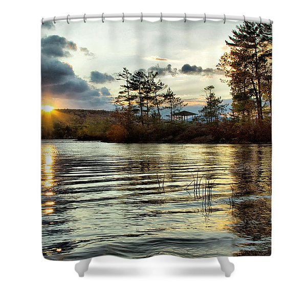 Sunset On Webster Lake  Shower Curtain