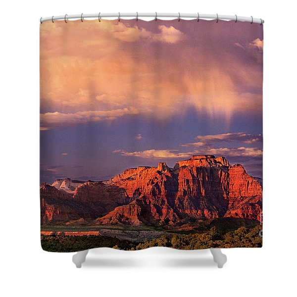 Sunset On West Temple Zion National Park Shower Curtain