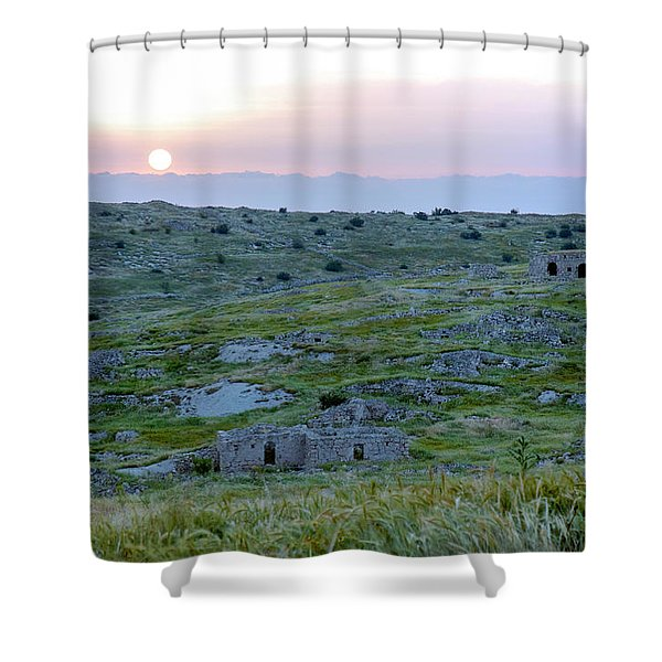 Sunset Over A 2000 Years Old Village Shower Curtain