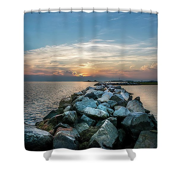 Sunset Over A Rock Jetty On The Chesapeake Bay Shower Curtain