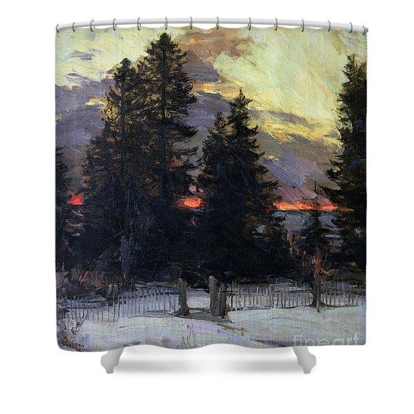 Sunset Over A Winter Landscape Shower Curtain