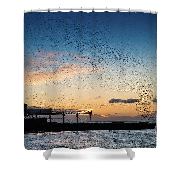 Sunset Over Aberystwyth Pier Shower Curtain