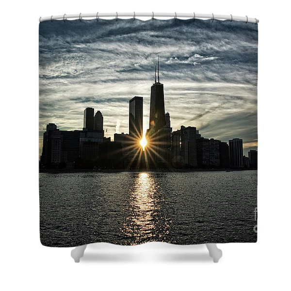 Sunset Over Chicago Skyline And Lake Michigan Shower Curtain