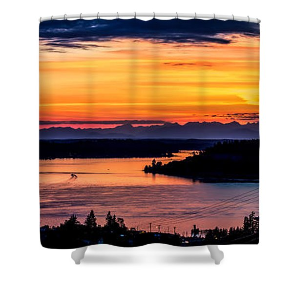 Sunset Over Hail Passage On The Puget Sound Shower Curtain