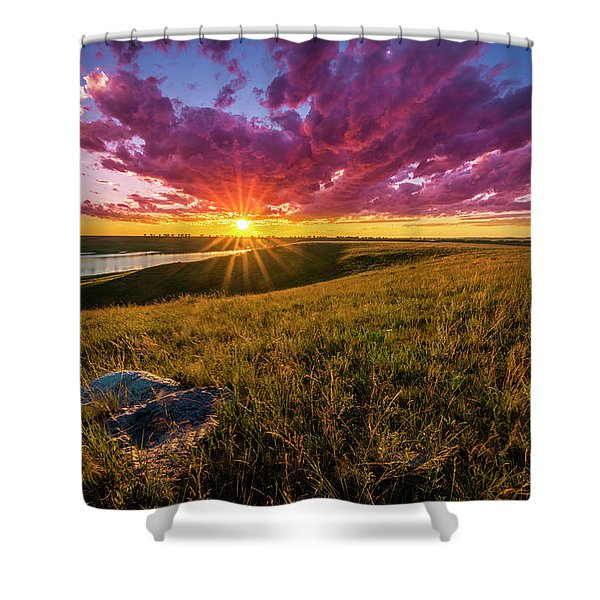 Sunset Over Lake Oahe Shower Curtain