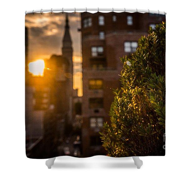 Sunset Over Manhattan New York City Shower Curtain