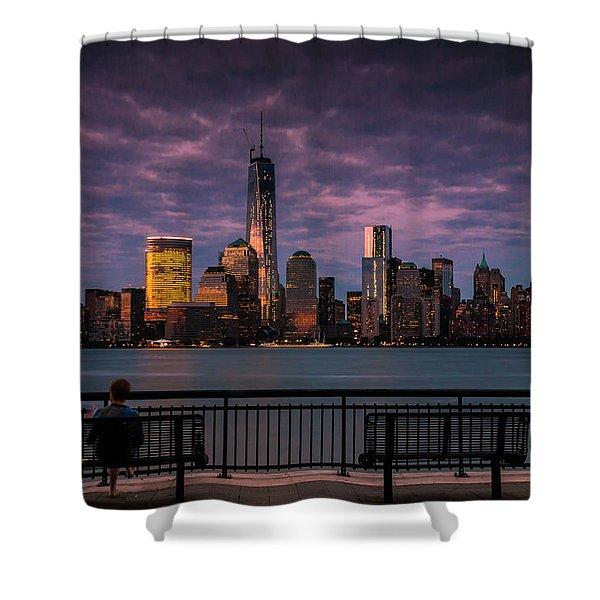 Sunset Over New World Trade Center New York City Shower Curtain