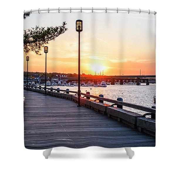Sunset Over Newburyport Ma Merrimack River Newburyport Turnpike Shower Curtain