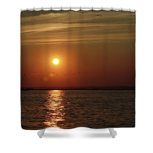 Sunset Over Pelican Bay Shower Curtain