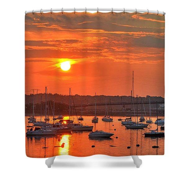 Sunset Over Salem Harbor Salem Beverly Bridge 2 Shower Curtain