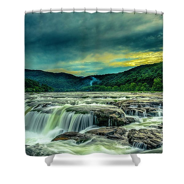 Sunset Over Sandstone Falls Shower Curtain
