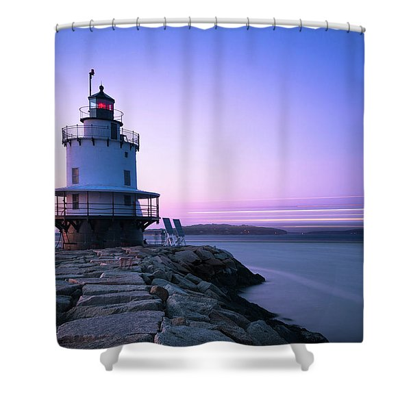 Sunset Over Spring Breakwater Lighthouse In South Maine Shower Curtain