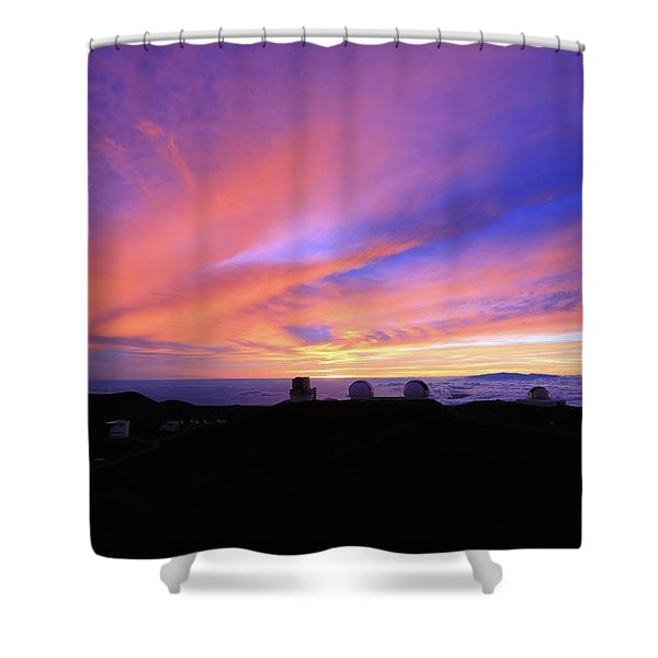 Sunset Over The Clouds Shower Curtain